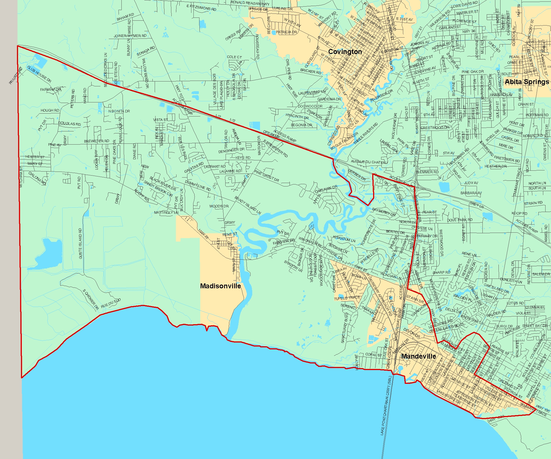 Mandeville Louisiana Map.Search For Homes In St Tammany By School Attendance Boundaries